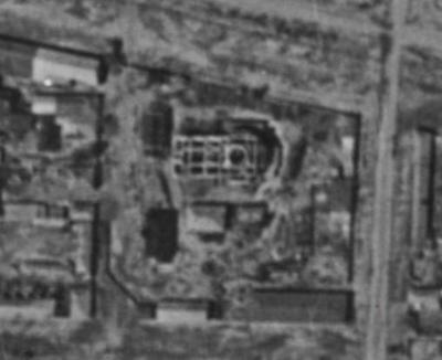 Остатки Новокупеческой церкви на аэрофотосъемке 1944 года