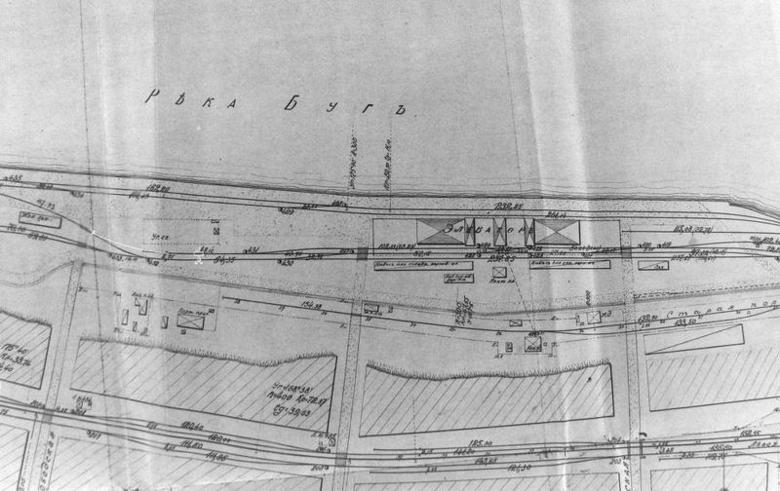 Фрагмент карты Николаевского коммерческого порта. 1905 год.асположения элеватора. 1905 год.