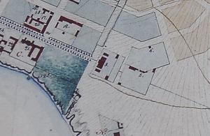 Фрагмент схемы Николаева 1833 года, на которой обозначен Спасский водопровод.