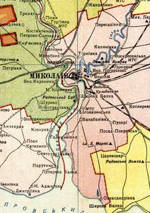Карта Николаевской области 1937 года